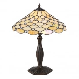 PEARL Tiffany table lamp with warm cream shade on bronze base - medium