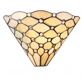 PEARL wall washer style wall light with warm cream Tiffany shade