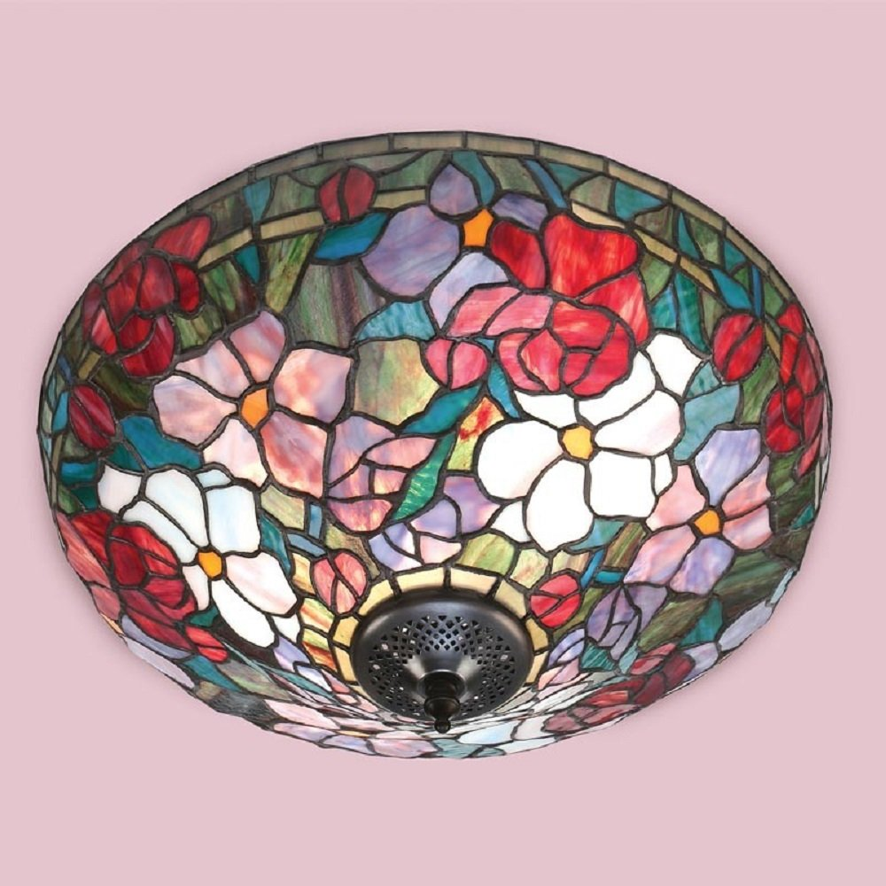 Red Lilies Flush Fitting Floral Pattern Ceiling Light For Low Ceilings