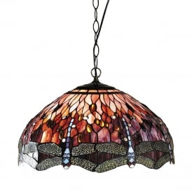 RED DRAGONFLY large Tiffany ceiling pendant light