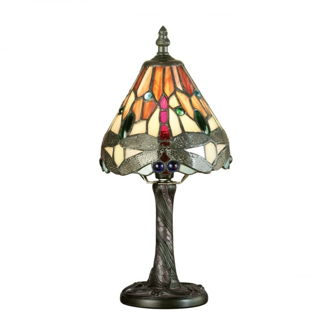 Kensington Tiffany Collection RED DRAGONFLY mini Tiffany glass table lamp