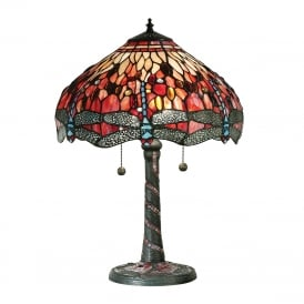RED DRAGONFLY Tiffany glass table lamp, large