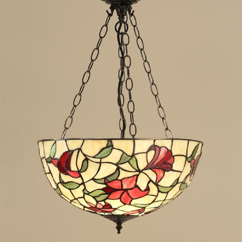 Inverted Uplighter Tiffany Ceiling Pendant Light with Red ...