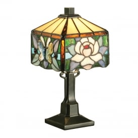 ROCHETTE Art Nouveau style mini Tiffany glass table lamp