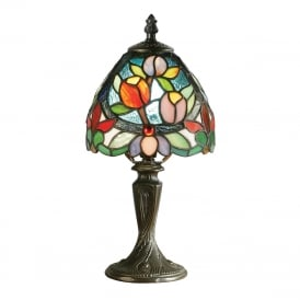 SYLVETE small Tiffany table lamp, floral pattern