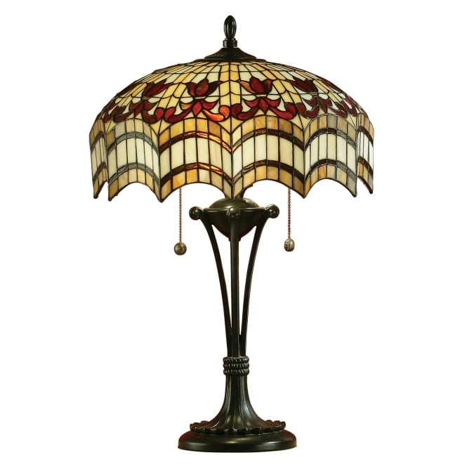 Kensington Tiffany Collection VESTA antique table lamp with Tiffany glass shade