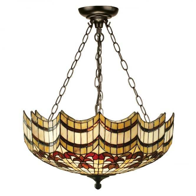 Kensington Tiffany Collection VESTA large Tiffany uplighter ceiling pendant on chains