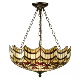 VESTA large Tiffany uplighter ceiling pendant on chains
