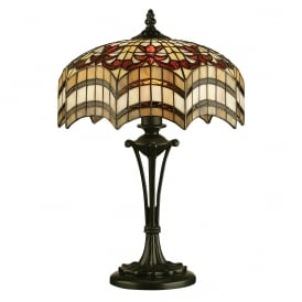 VESTA Tiffany glass table lamp on antique base