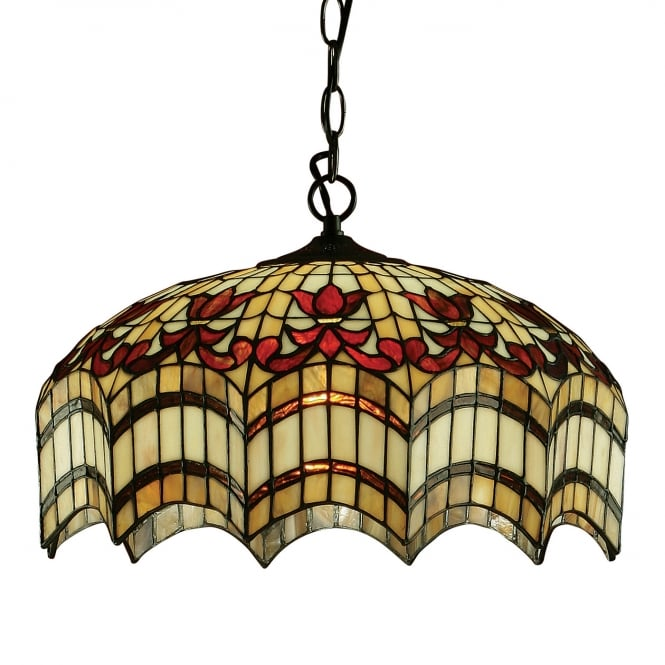 Kensington Tiffany Collection VESTA Tiffany hanging ceiling pendant light for high ceilings