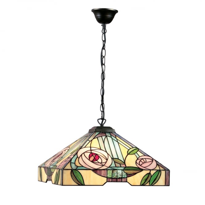 Kensington Tiffany Collection WILLOW large Art Nouveau style Tiffany ceiling pendant light