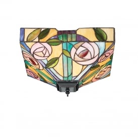 WILLOW medium Art Nouveau style flush fit Tiffany low ceiling light