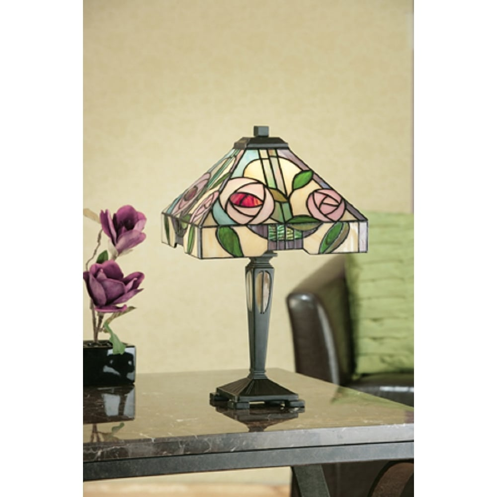 Art nouveau style tiffany table lamp with mackintosh rose design willow small tiffany table lamp art nouveau rose design mozeypictures Gallery