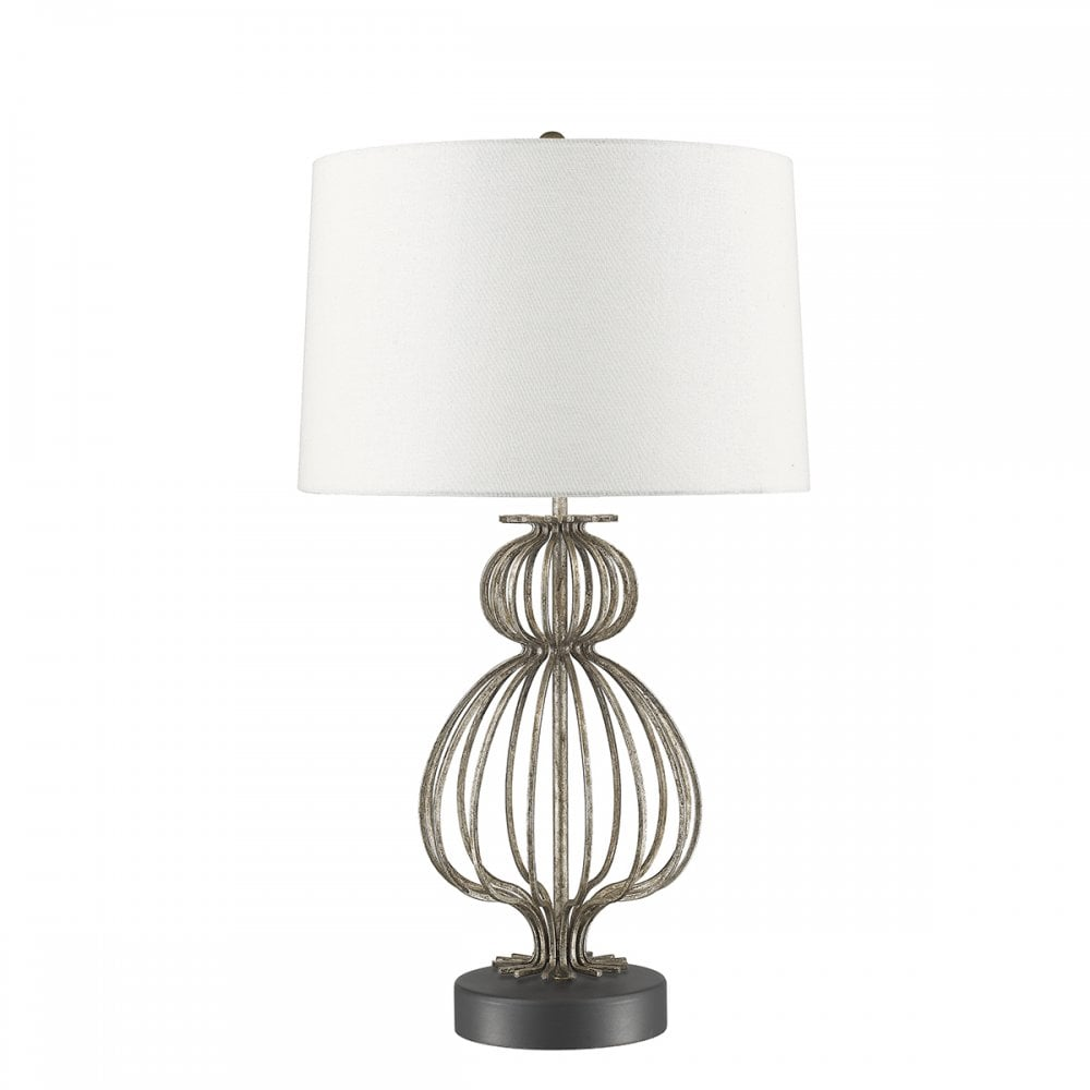 Lafitte Open Frame Distressed Silver Table Lamp With White Linen Shade