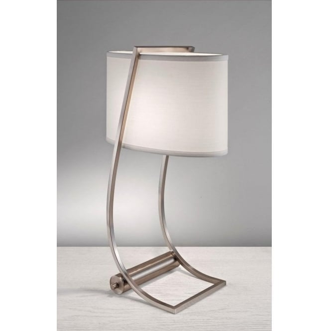 Brushed Steel Table Lamp with USB