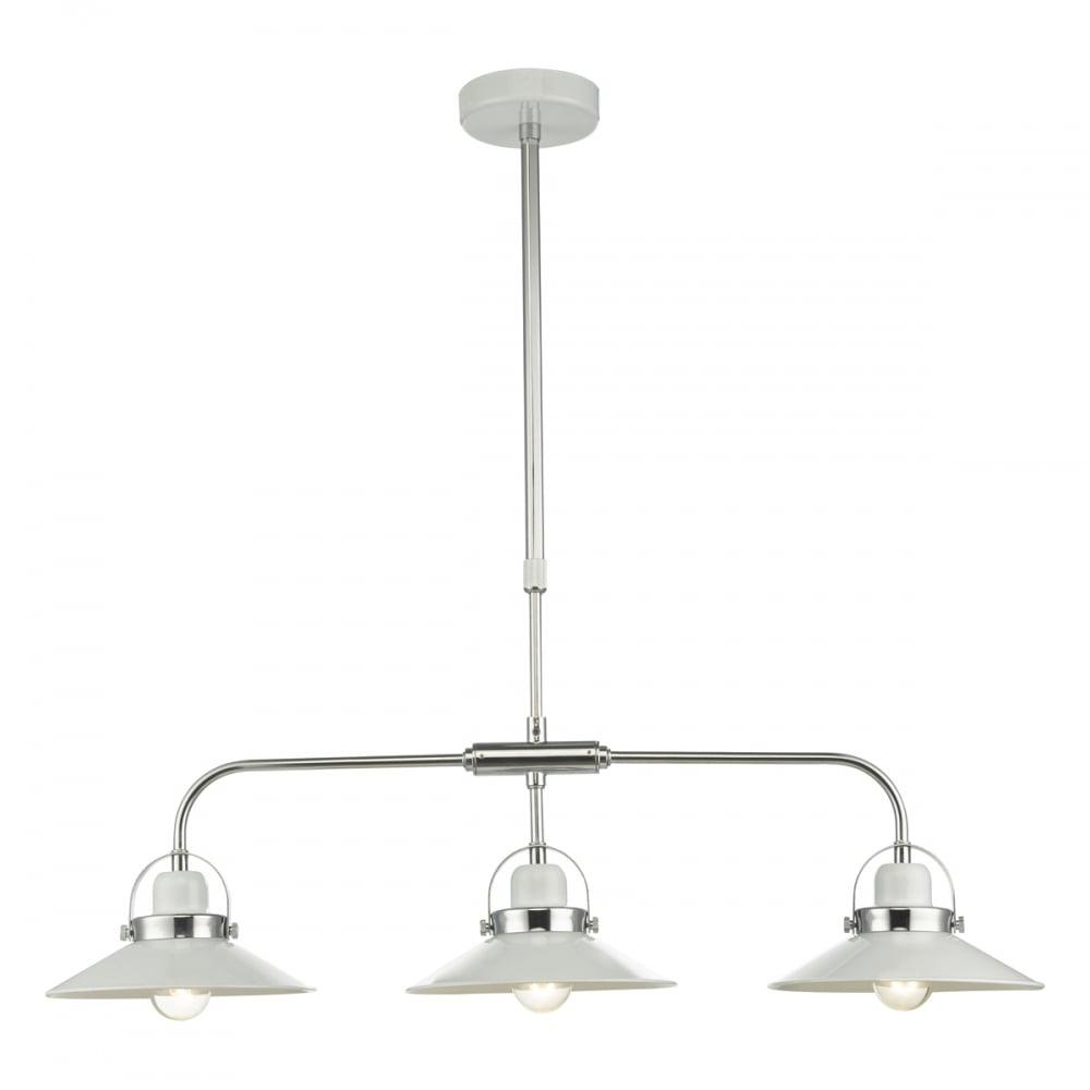 LIDEN retro 9 light ceiling bar pendant in white gloss with chrome detail