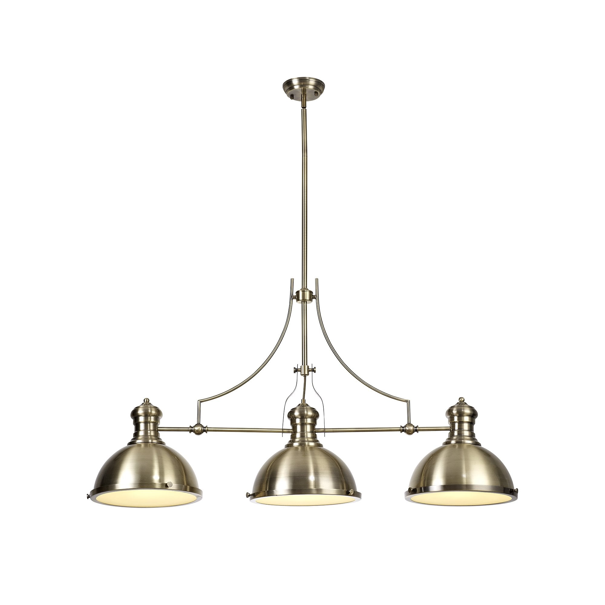 Antique Brass Ceiling Bar Pendant With 3 Lights For Over Kitchen Islands