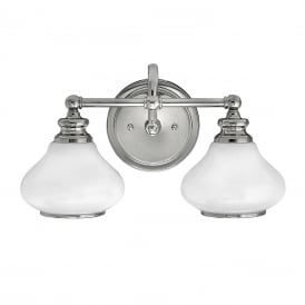 Bathroom lights traditional period lighting for victorian bathrooms ainsley led traditional double bathroom wall light in chrome with opal glass shades aloadofball Gallery