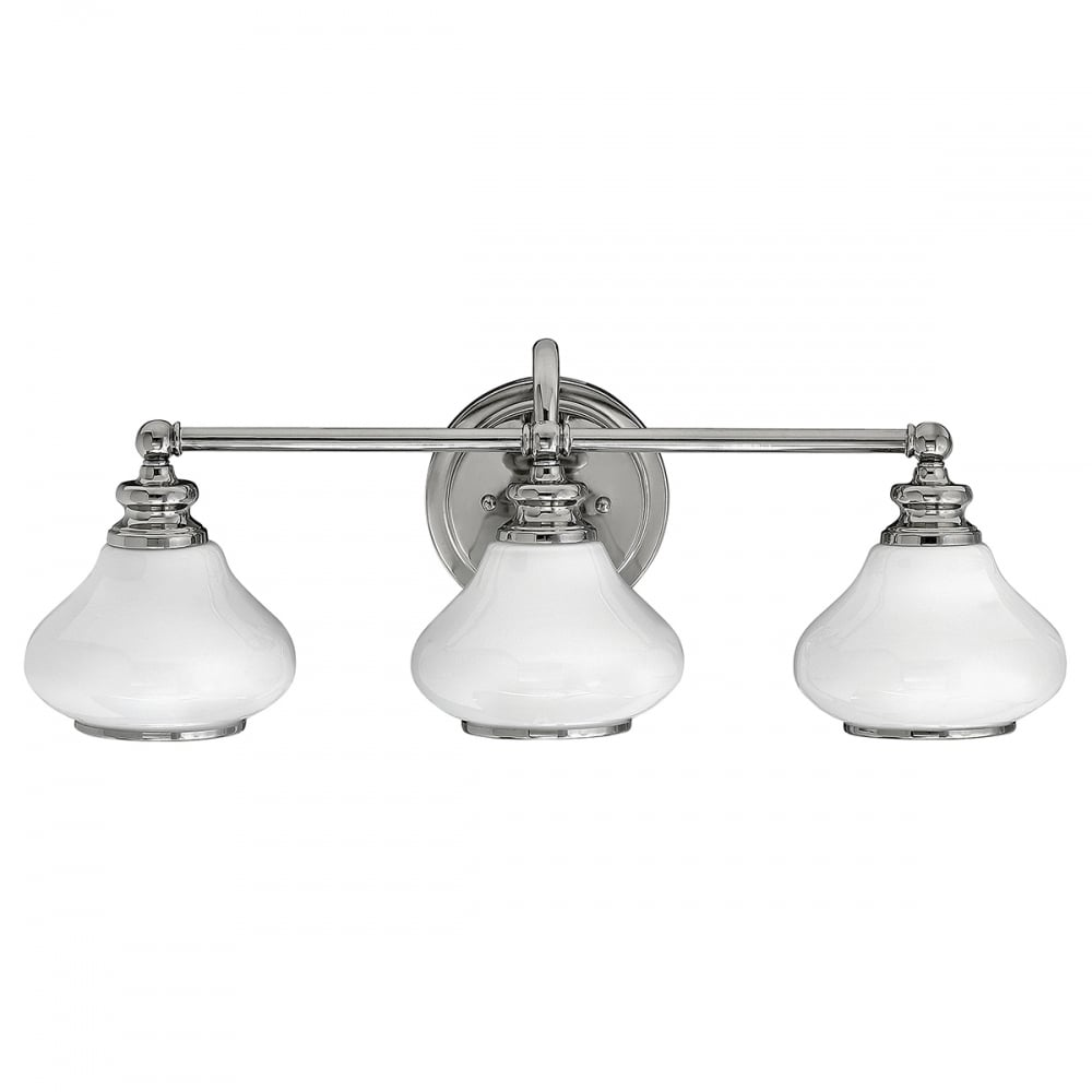 Led over bathroom mirror wall light in chrome with 3 opal for Traditional bathroom wall lights