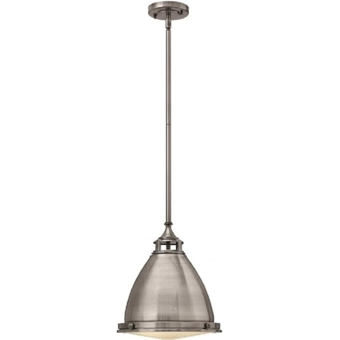 Lincoln American Lighting AMELIA retro style antique nickel ceiling pendant for sloping ceilings - medium