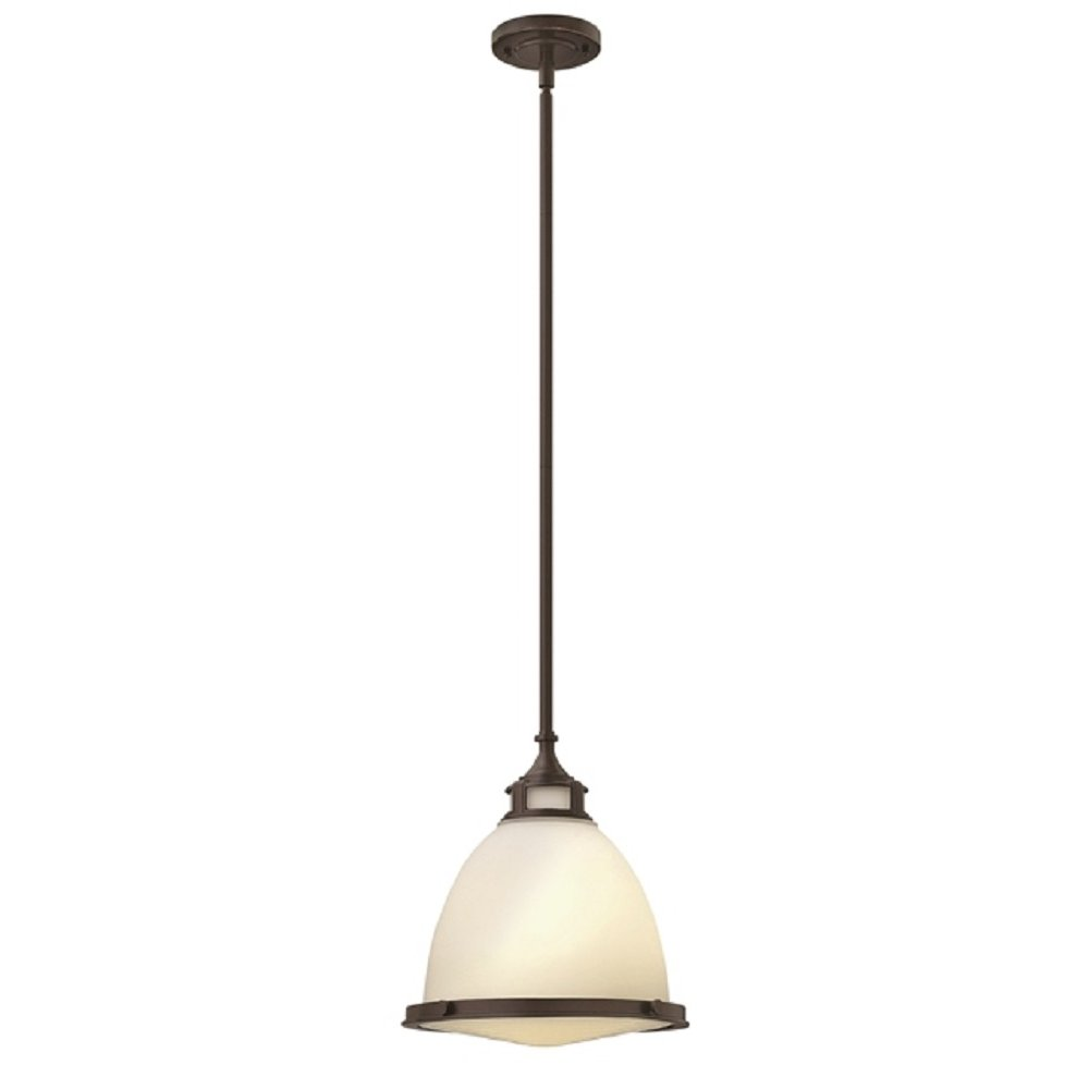 Retro Bronze And Opal Glass Hanging Ceiling Pendant For Sloped Ceilings