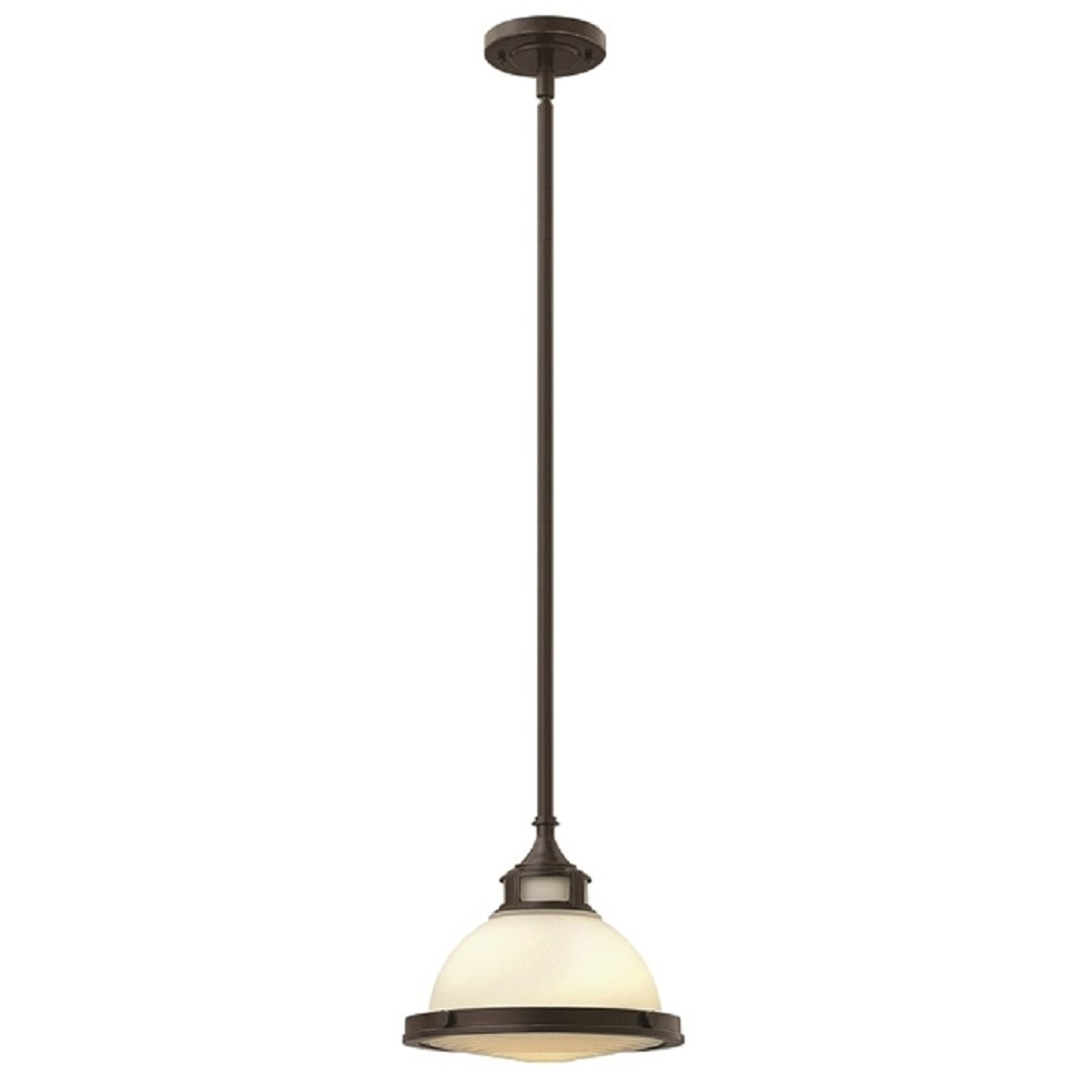 opal glass pendant with bronze detailing ideal for sloping