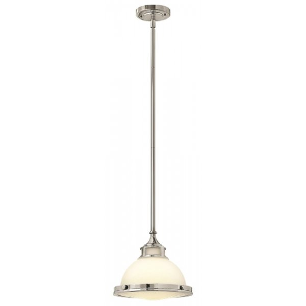 Small Glass Sloped Ceiling Pendant Light Hanging On Chrome Suspension