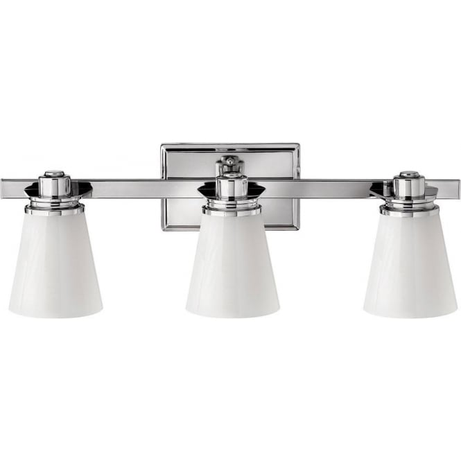 Art deco over bathroom mirror wall light with 3 lights on bar - Art deco bathroom lighting fixtures ...