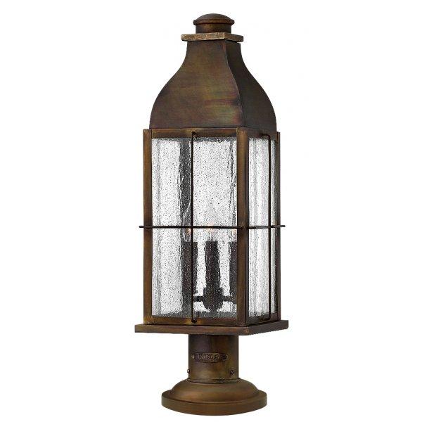 Cheltenham Cast Pedestal Lantern Light Black: Garden Gate Post Light Pedestal Lantern In Cast Brass