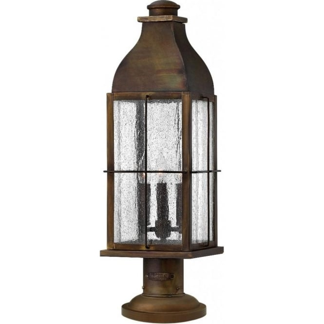 Lincoln American Lighting BINGHAM IP44 rustic cast brass gate post lantern