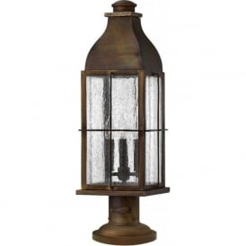 BINGHAM IP44 rustic cast brass gate post lantern