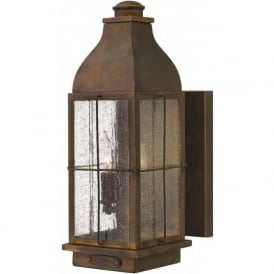 BINGHAM rustic cast brass garden wall light - medium