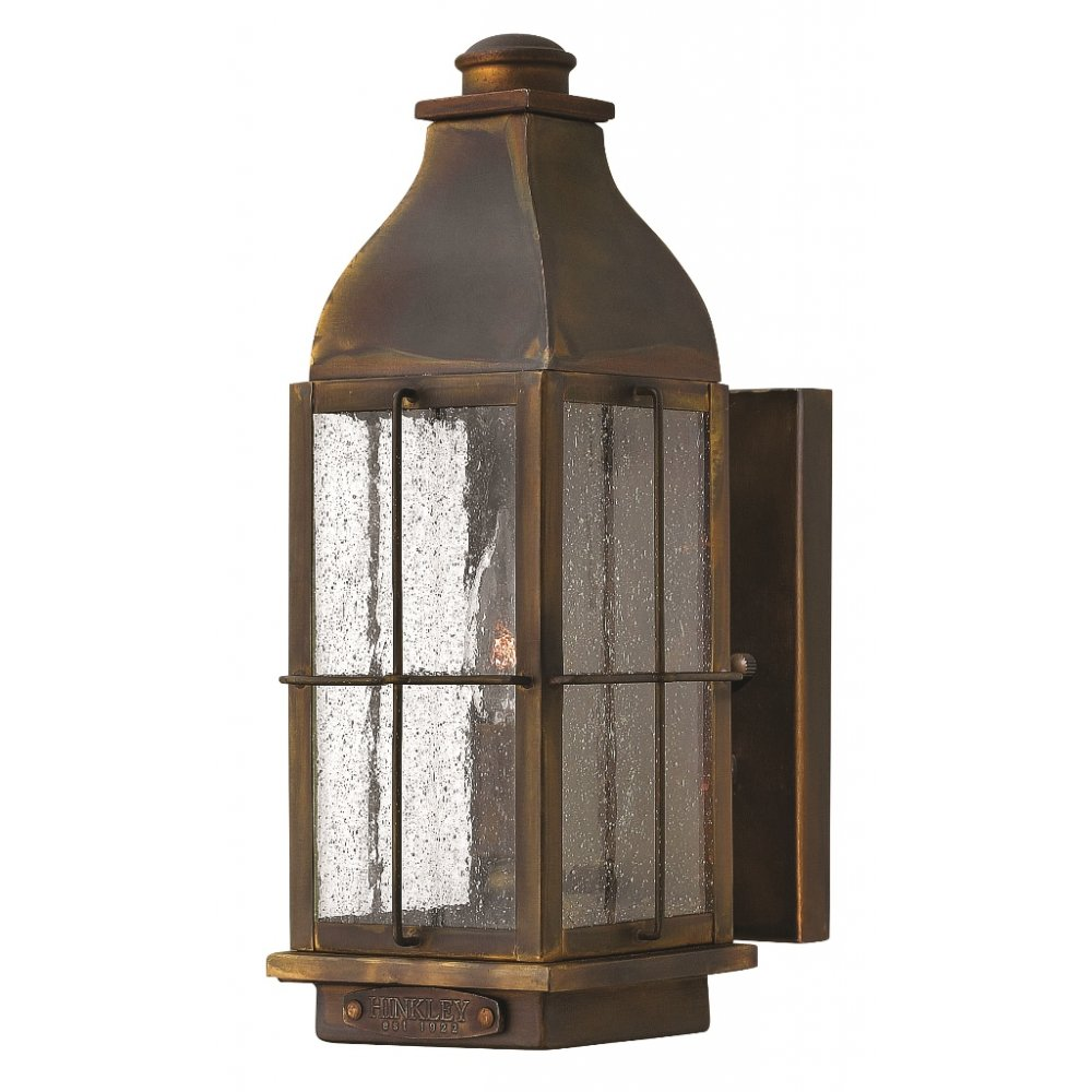Character Outdoor Wall Lantern in Solid Brass with Rustic Finish