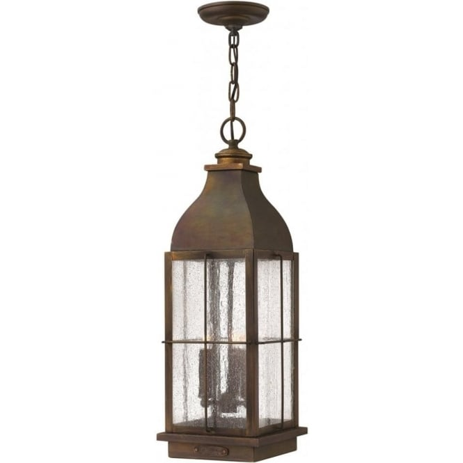 Lincoln American Lighting BINGHAM rustic cast brass hanging porch lantern