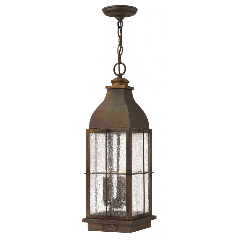 rustic cast brass hanging porch lantern in traditional. Black Bedroom Furniture Sets. Home Design Ideas
