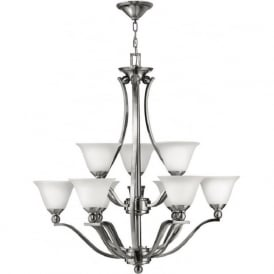 BOLLA large 9 light nickel chandelier in classic modern design