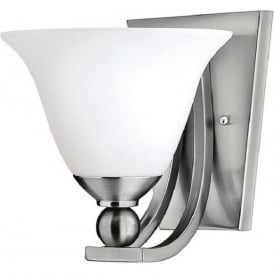 BOLLA nickel single wall light with opal bell glass shade