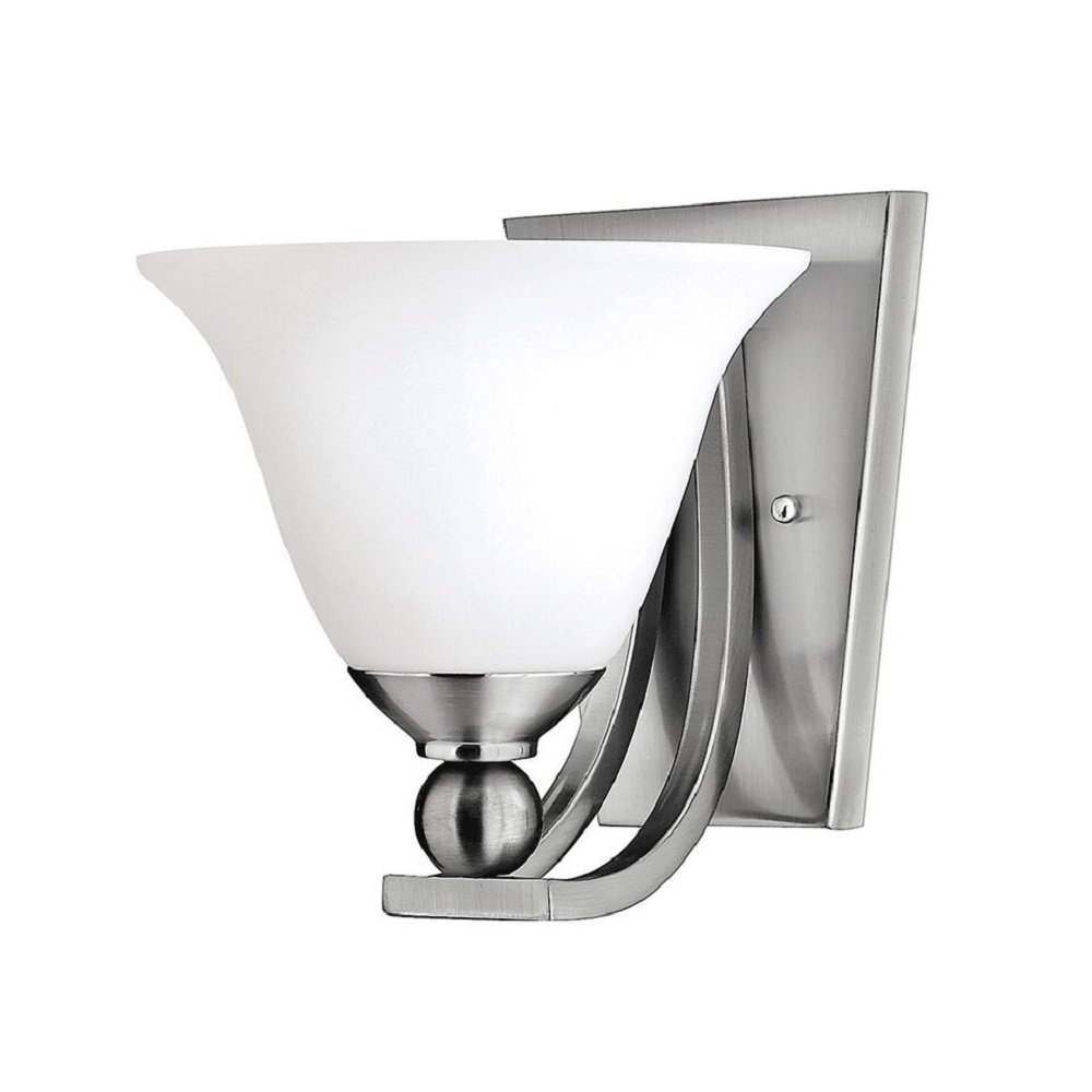 Glass Shades For Wall Lights : Brushed Nickel Single Wall Light with Opal Bell Glass Shade