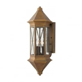 BRIGHTON traditional solid brass garden wall lantern with rustic finish - large