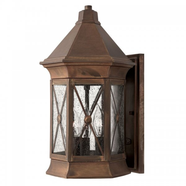 Rustic Bronze Traditional Outdoor Wall Lantern With Leaded