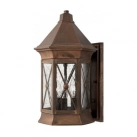 BRIGHTON traditional solid brass garden wall lantern with rustic finish - medium