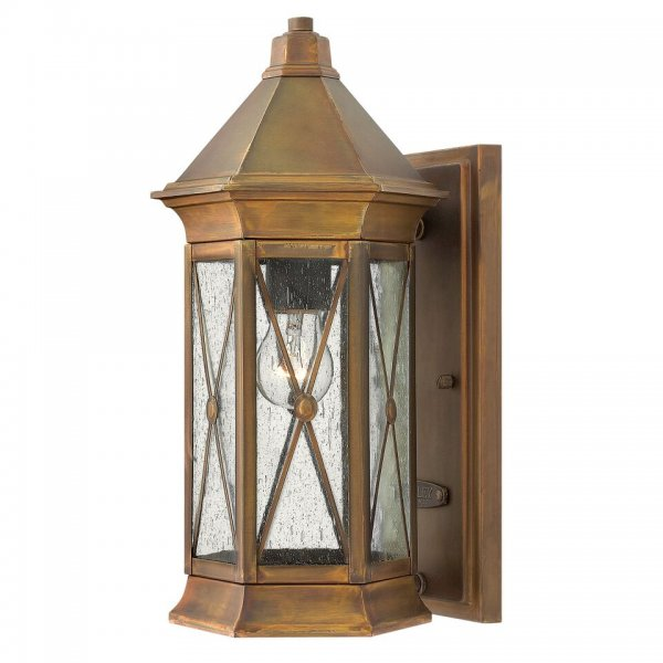 Small Solid Brass Traditional Wall Lantern In Rustic