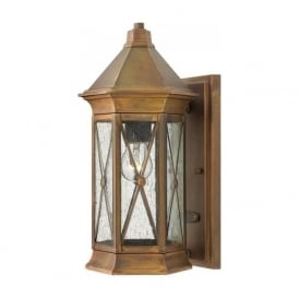 BRIGHTON traditional solid brass garden wall lantern with rustic finish - small