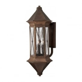 BRIGHTON traditional solid brass garden wall lantern with rustic finish - xlarge