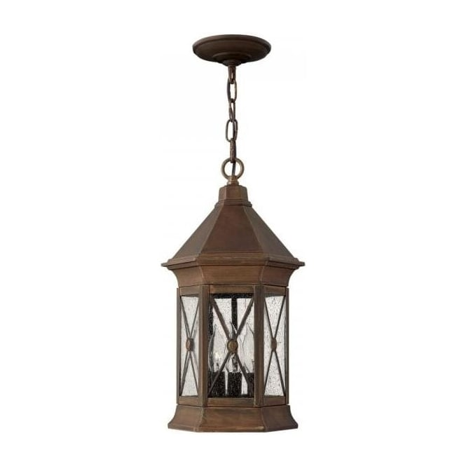 Rustic Finish Outdoor Hanging Lantern, Rain Effect Leaded
