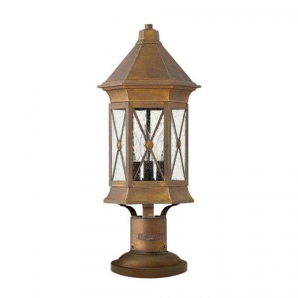 Rustic Bronze Pedestal Or Gate Post Lantern With