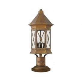 BRIGHTON traditional solid brass pedestal gate post lantern with rustic finish