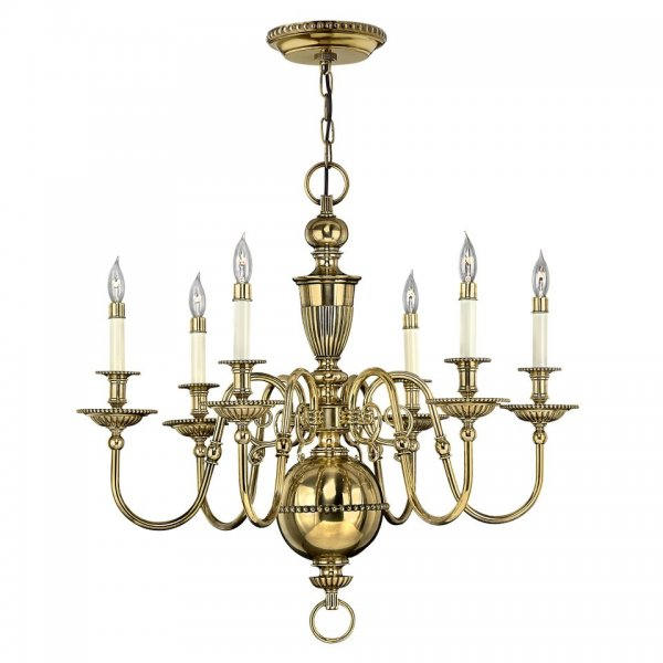 Traditional flemish design gold chandelier with 6 candle for American classic lighting