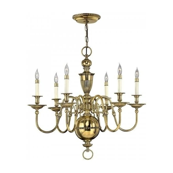 Traditional flemish design gold chandelier with 6 candle style lights cambridge flemish style solid brass chandelier with 6 candle lights aloadofball Choice Image