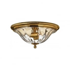 CAMBRIDGE flush fitting solid brass low ceiling light with clear optic glass